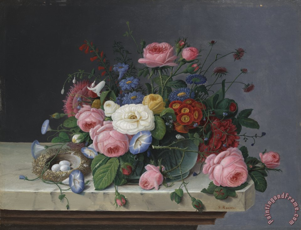 Severin Roesen Still Life With Flowers and Bird's Nest Art Print
