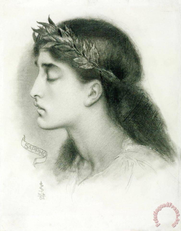 Study of Sappho painting - Simeon Solomon Study of Sappho Art Print