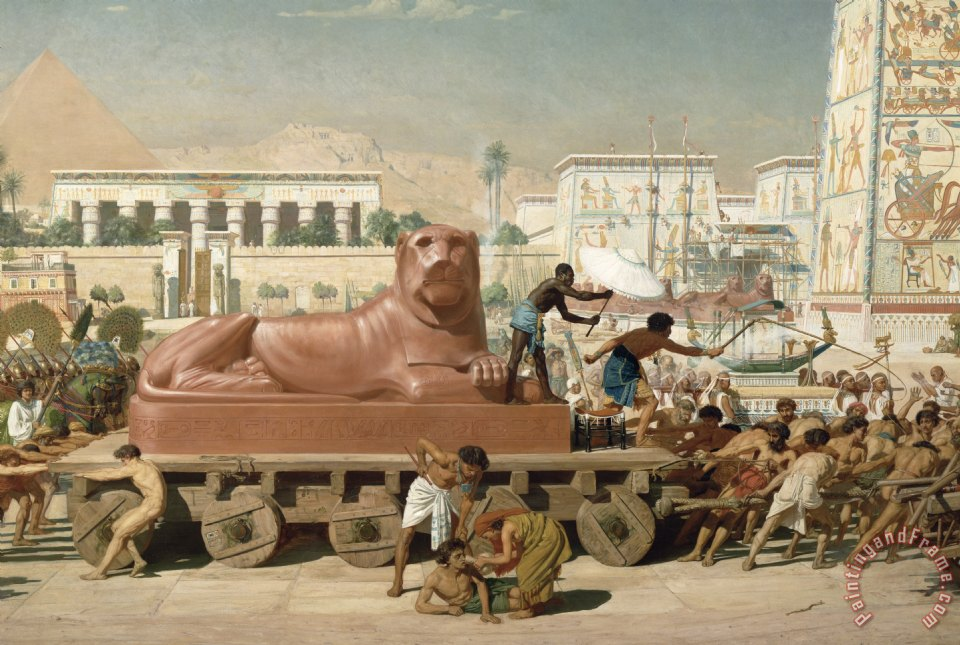 Statue of Sekhmet being transported detail of Israel in Egypt painting - Sir Edward John Poynter Statue of Sekhmet being transported detail of Israel in Egypt Art Print