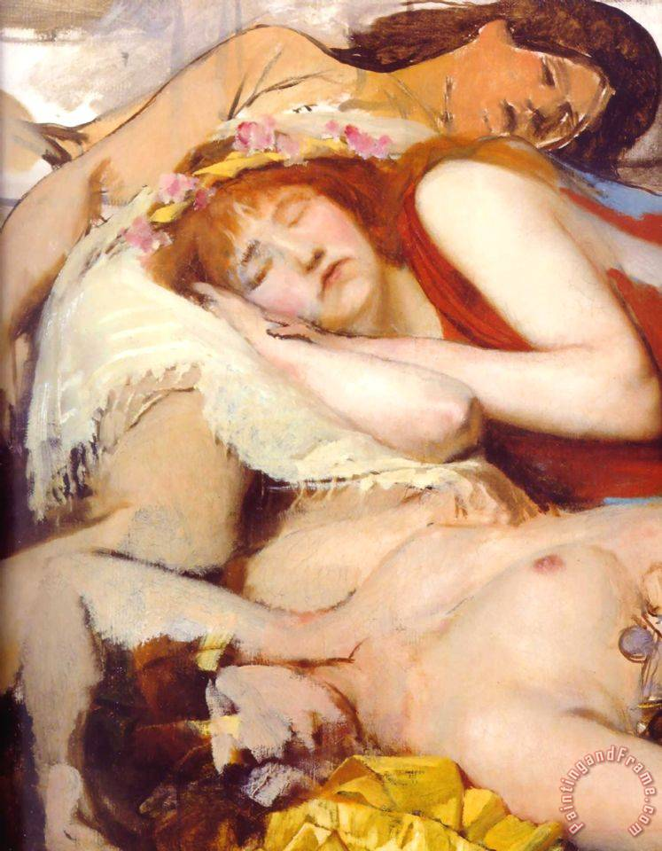 Exhausted Maenides After The Dance painting - Sir Lawrence Alma-Tadema Exhausted Maenides After The Dance Art Print