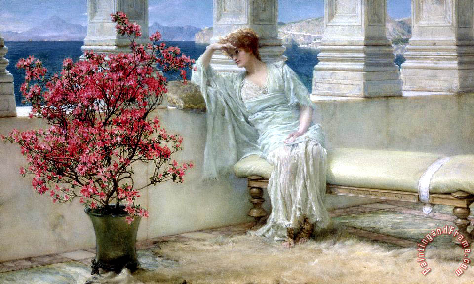 Her eyes are with her thoughts and they are far away painting - Sir Lawrence Alma-Tadema Her eyes are with her thoughts and they are far away Art Print