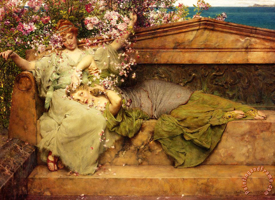 Sir Lawrence Alma-Tadema In a Rose Garden Art Print