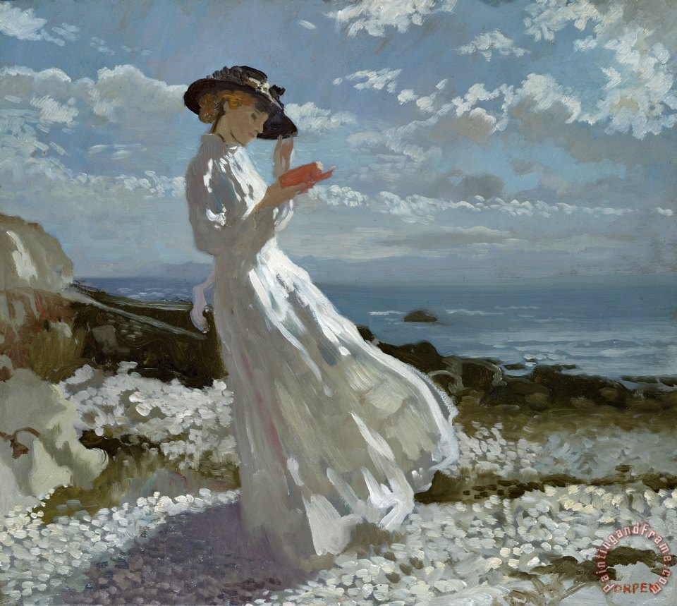 Grace reading at Howth Bay painting - Sir William Orpen Grace reading at Howth Bay Art Print