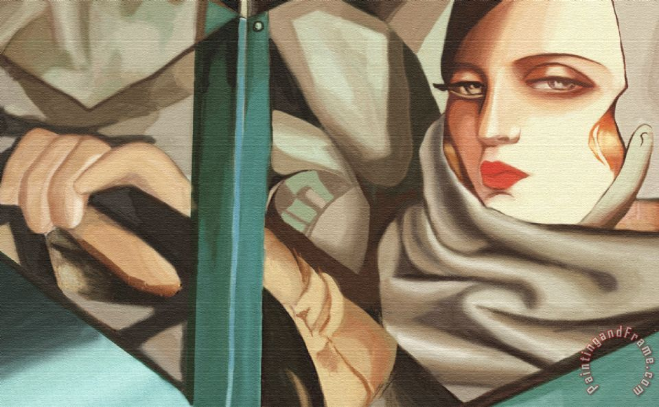 tamara de lempicka self portrait in the green bugatti (detail) painting