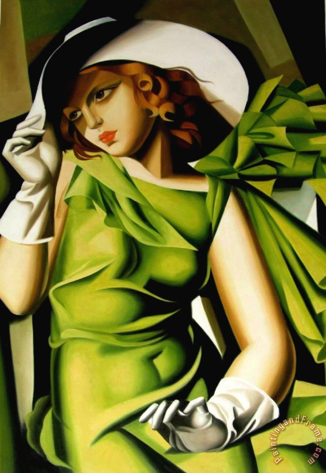 Young Girl with Gloves in Green 1929 painting - tamara de lempicka Young Girl with Gloves in Green 1929 Art Print