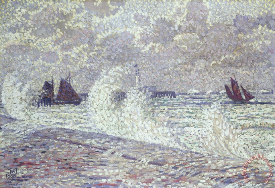 theo van rysselberghe the sea during equinox boulogne sur. Black Bedroom Furniture Sets. Home Design Ideas