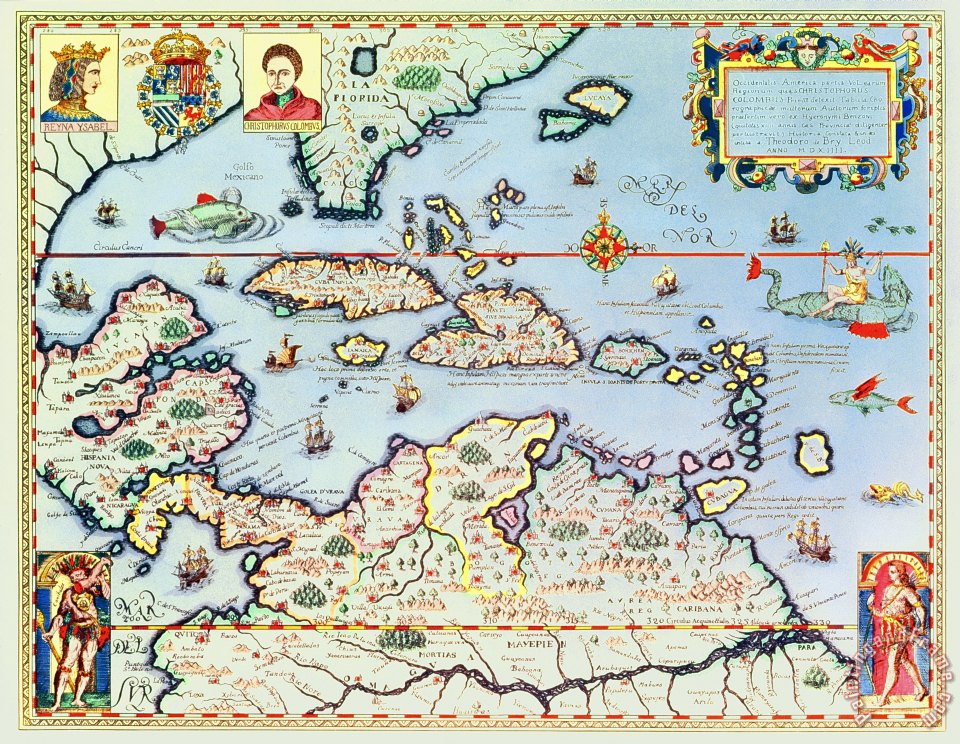 Theodore de Bry Map of the Caribbean islands and the American state of Florida Art Print