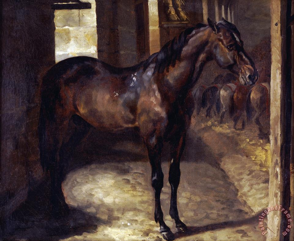 Anglo Arabian Stallion in The Imperial Stables at Versailles painting - Theodore Gericault Anglo Arabian Stallion in The Imperial Stables at Versailles Art Print