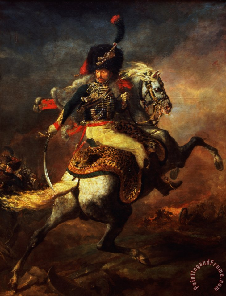 Officer of the Hussars painting - Theodore Gericault Officer of the Hussars Art Print