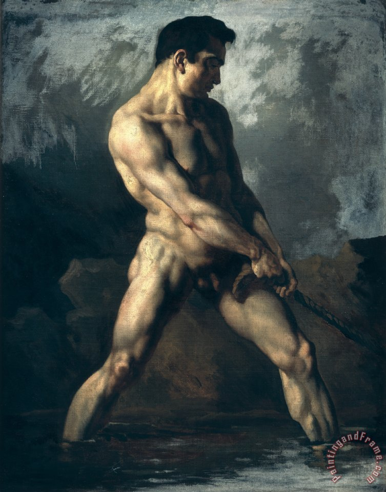 Study of a Male Nude painting - Theodore Gericault Study of a Male Nude Art Print
