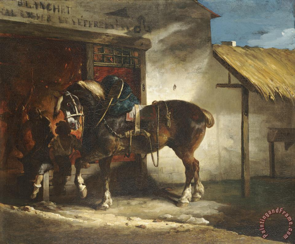 The Village Forge painting - Theodore Gericault The Village Forge Art Print