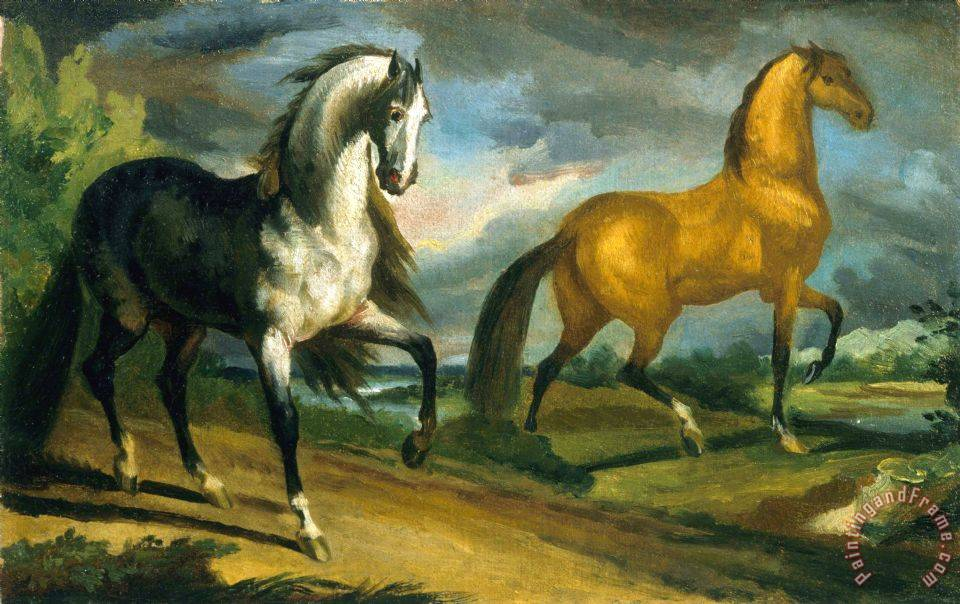 Two Horses painting - Theodore Gericault Two Horses Art Print