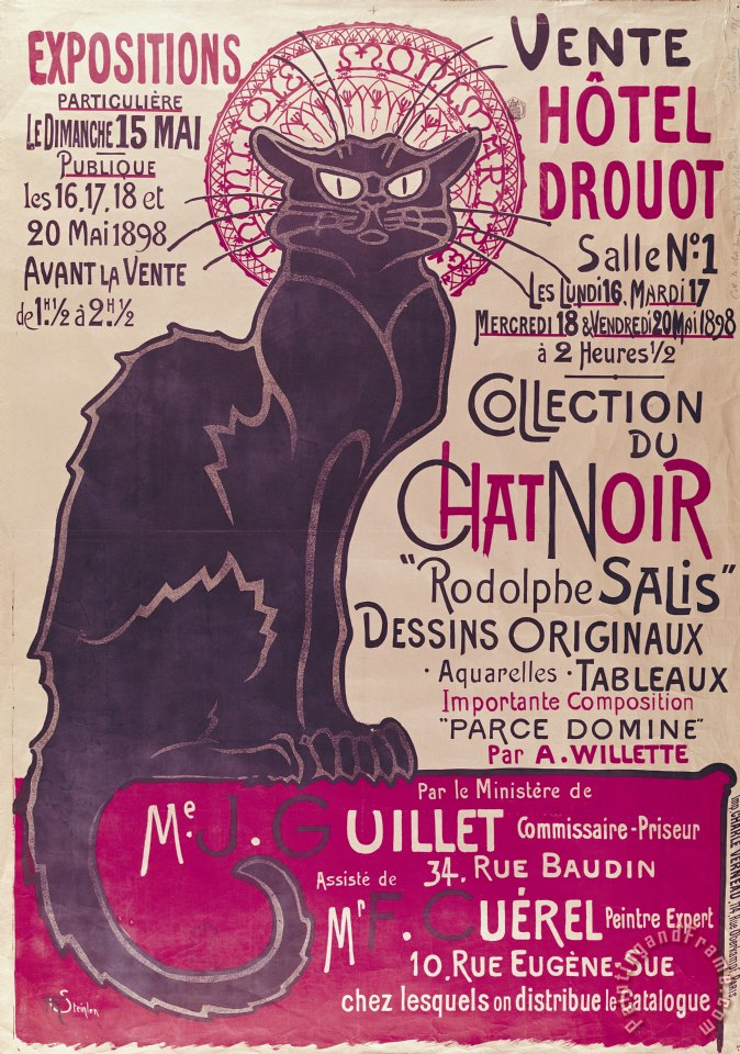 Poster advertising an exhibition of the Collection du Chat Noir cabaret painting - Theophile Alexandre Steinlen Poster advertising an exhibition of the Collection du Chat Noir cabaret Art Print