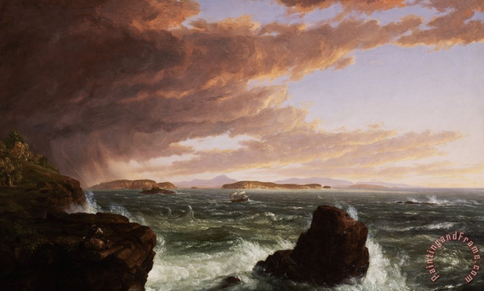 View across Frenchman's Bay from Mt. Desert Island after a squall painting - Thomas Cole View across Frenchman's Bay from Mt. Desert Island after a squall Art Print