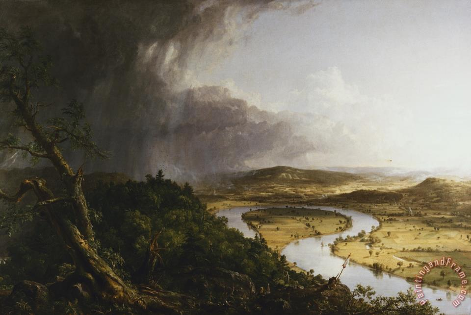 art work comparison the oxbow Similarly, in thomas cole's the oxbow (1836), the figure of the painter is barely visible in the foreground, engulfed by the brooding, wild forest to the left and the cultivated floodplains to the right in all such works, the emphasis, partly inherited from romanticism, is on the unadorned beauty and majesty of nature, and the harmony of human .