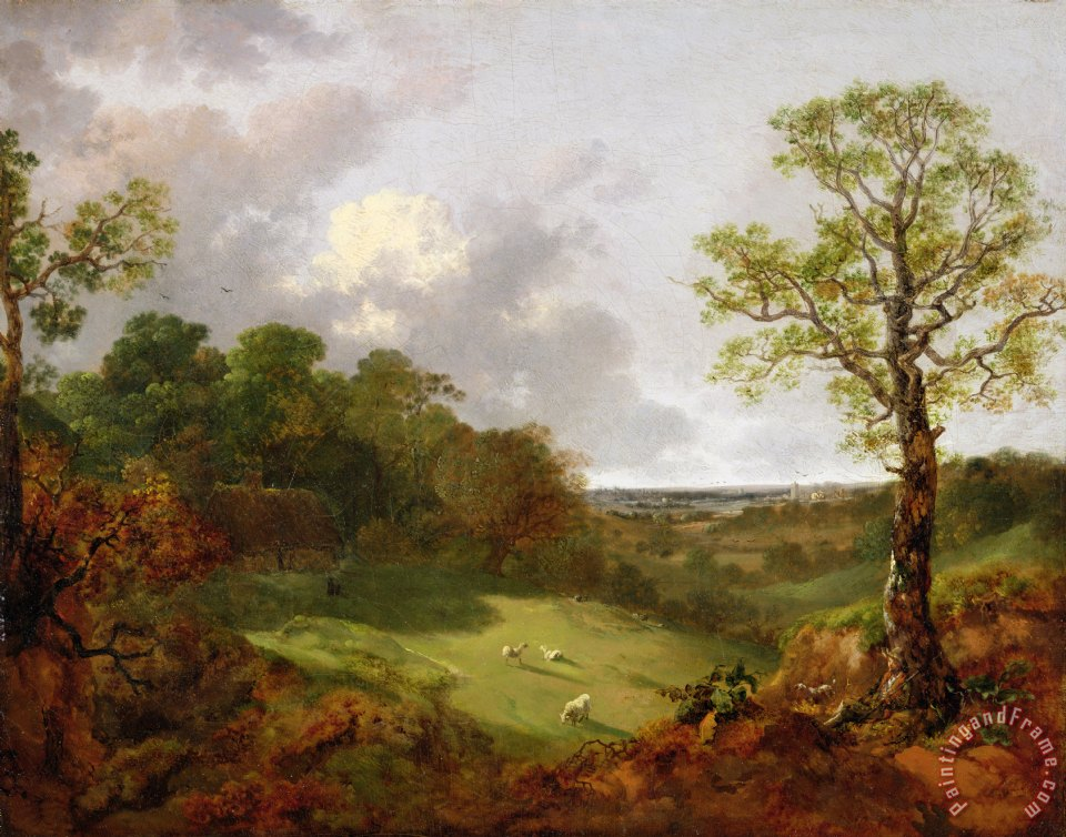 Thomas Gainsborough Wooded Landscape with a Cottage - Sheep and a Reclining Shepherd Art Print