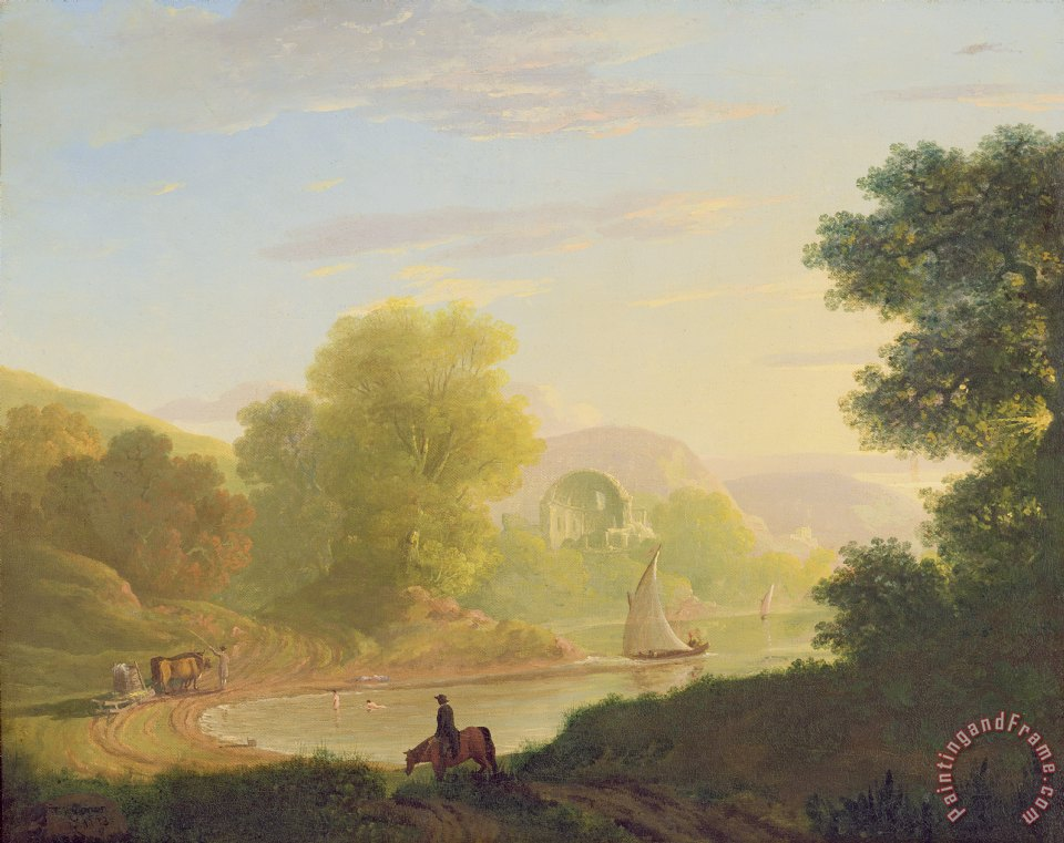 An Imaginary Coast Scene - with the Temple of Venus at Baiae painting - Thomas Jones An Imaginary Coast Scene - with the Temple of Venus at Baiae Art Print