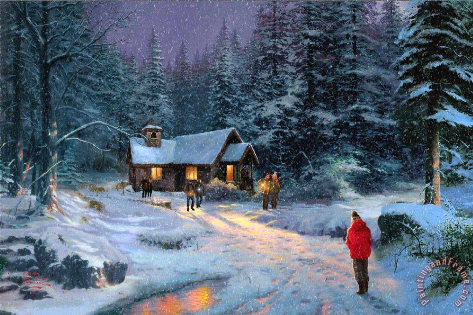 christmas miracle painting thomas kinkade christmas miracle art print