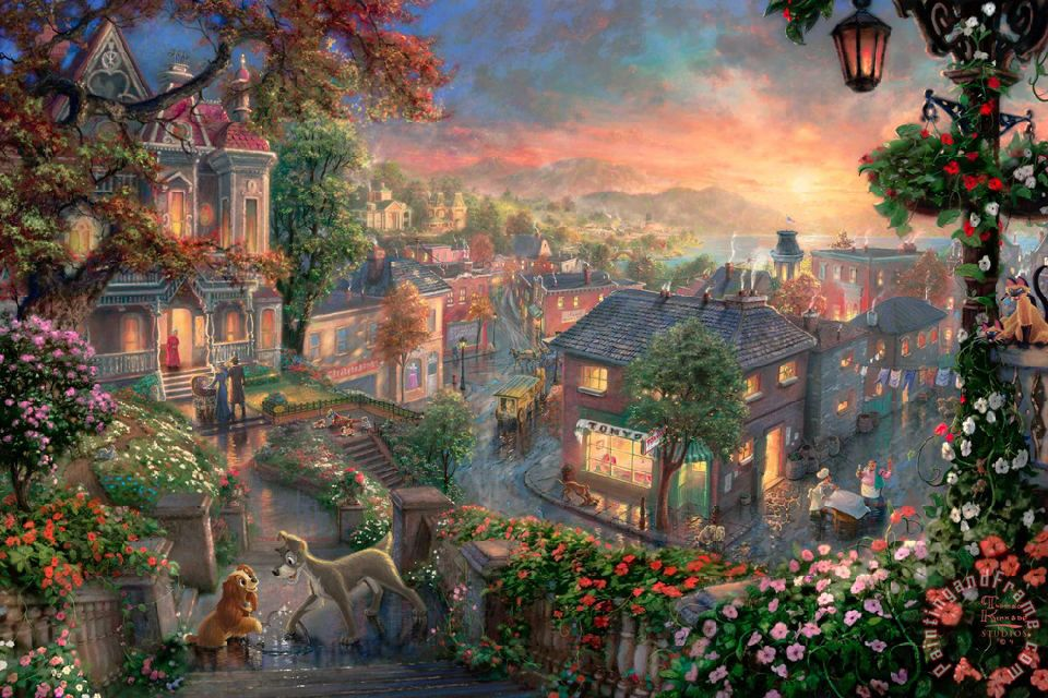 Lady And The Tramp painting - Thomas Kinkade Lady And The Tramp Art Print