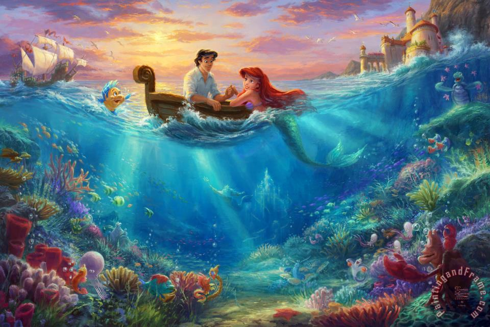 Little Mermaid Falling in Love painting - Thomas Kinkade Little Mermaid Falling in Love Art Print