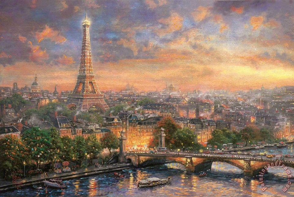 Paris, City of Love painting - Thomas Kinkade Paris, City of Love Art Print