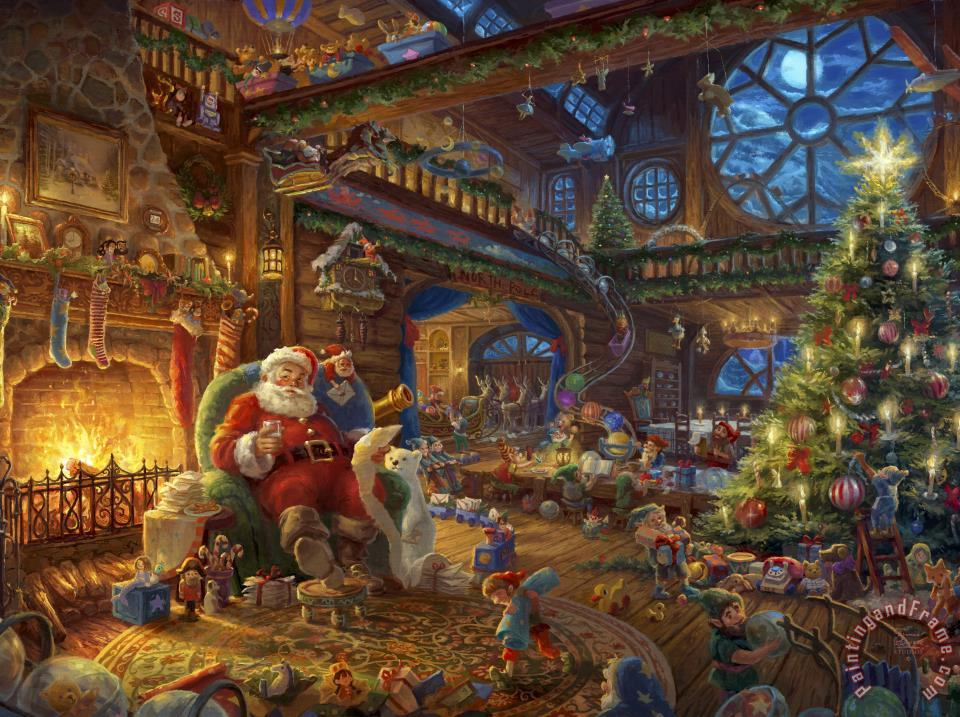 Santas Workshop painting - Thomas Kinkade Santas Workshop Art Print