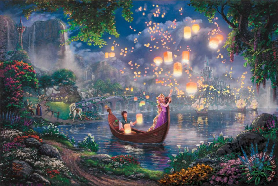 Tangled painting - Thomas Kinkade Tangled Art Print