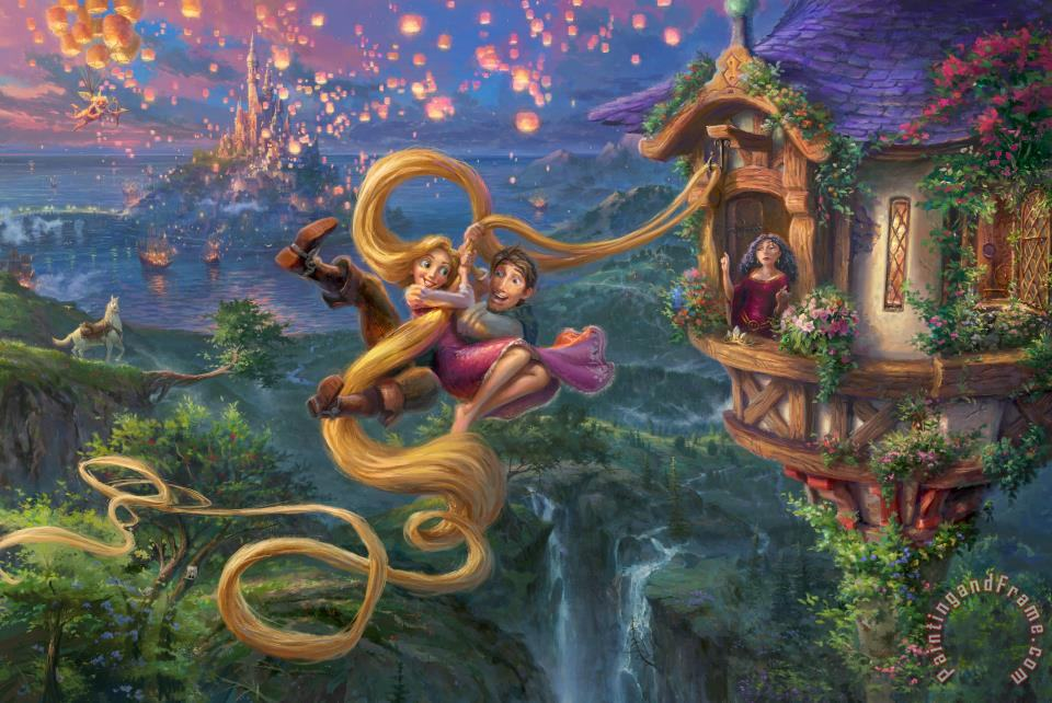 Tangled Up in Love painting - Thomas Kinkade Tangled Up in Love Art Print