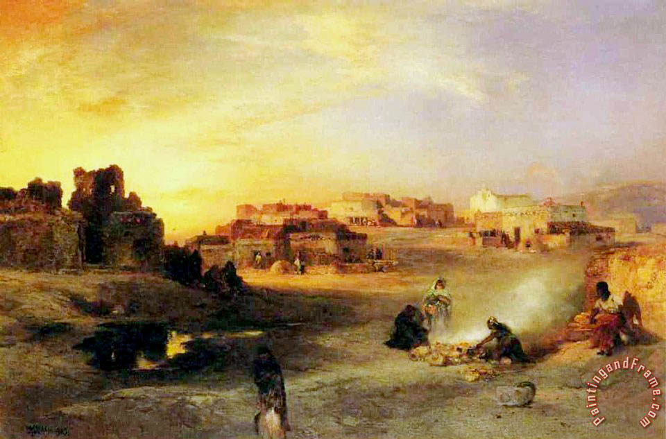 An Indian Pueblo painting - Thomas Moran An Indian Pueblo Art Print