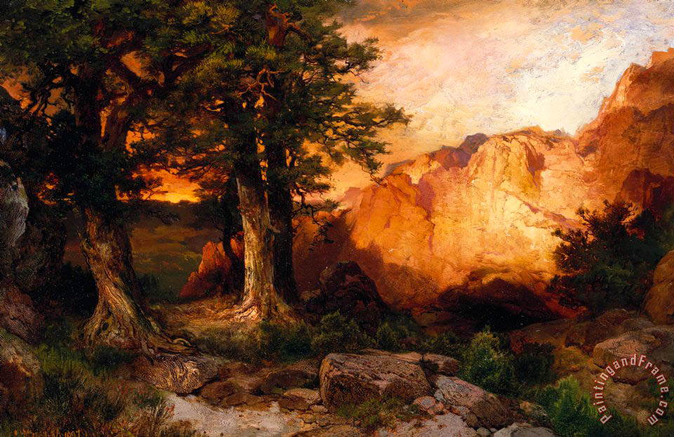 Western Sunset painting - Thomas Moran Western Sunset Art Print
