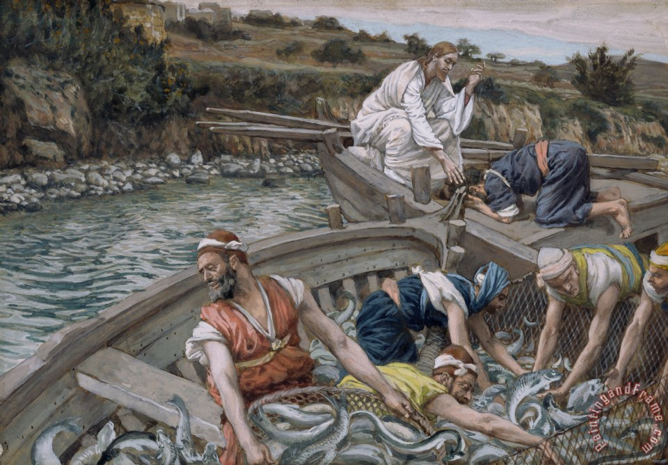 The First Miraculous Draught of Fish painting - Tissot The First Miraculous Draught of Fish Art Print