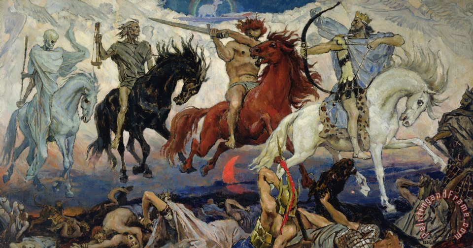 The Four Horsemen of the Apocalypse painting - Victor Mikhailovich Vasnetsov The Four Horsemen of the Apocalypse Art Print
