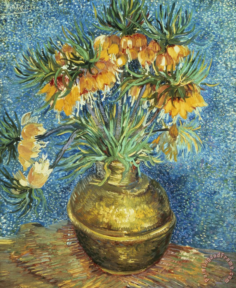 Crown Imperial Fritillaries in a Copper Vase painting - Vincent Van Gogh Crown Imperial Fritillaries in a Copper Vase Art Print