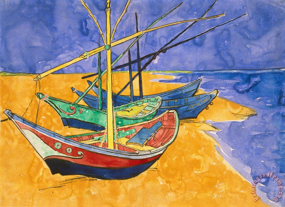 Vincent Van Gogh Fishing Boats on the Beach at Saintes Maries de la Mer Art Print