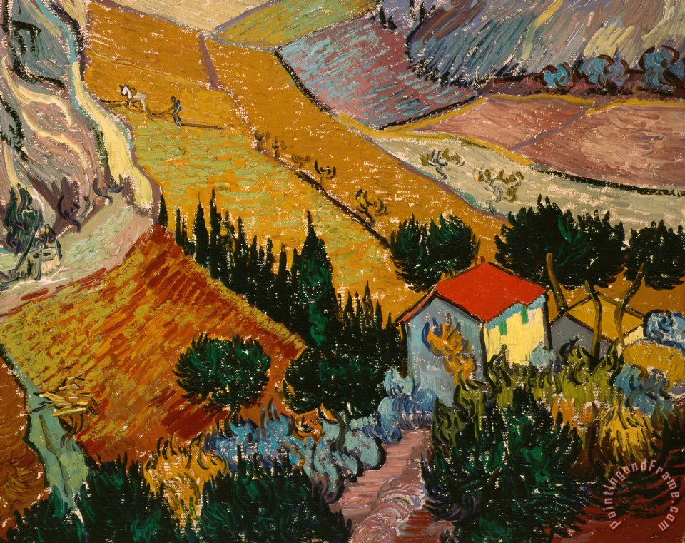 Vincent Van Gogh Landscape with House and Ploughman Art Print