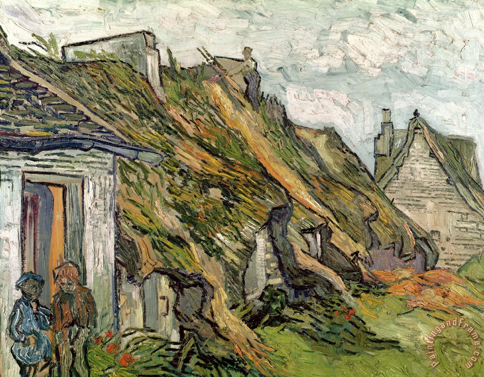 Thatched Cottages In Chaponval painting - Vincent van Gogh Thatched Cottages In Chaponval Art Print