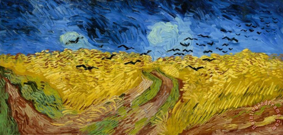 Wheatfield with Crows Wiki painting - Vincent van Gogh Wheatfield with Crows Wiki Art Print