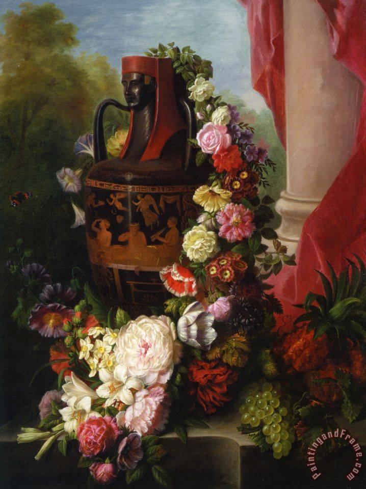 Virginie De Sartorius A Greek Urn With Garland Of Roses