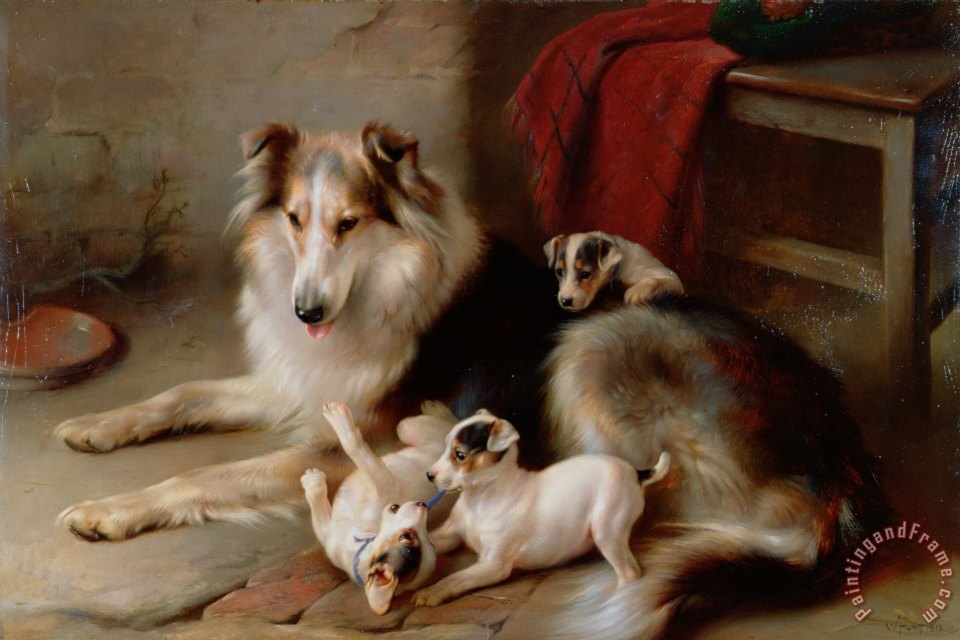 Walter Hunt A Collie With Fox Terrier Puppies Painting A Collie