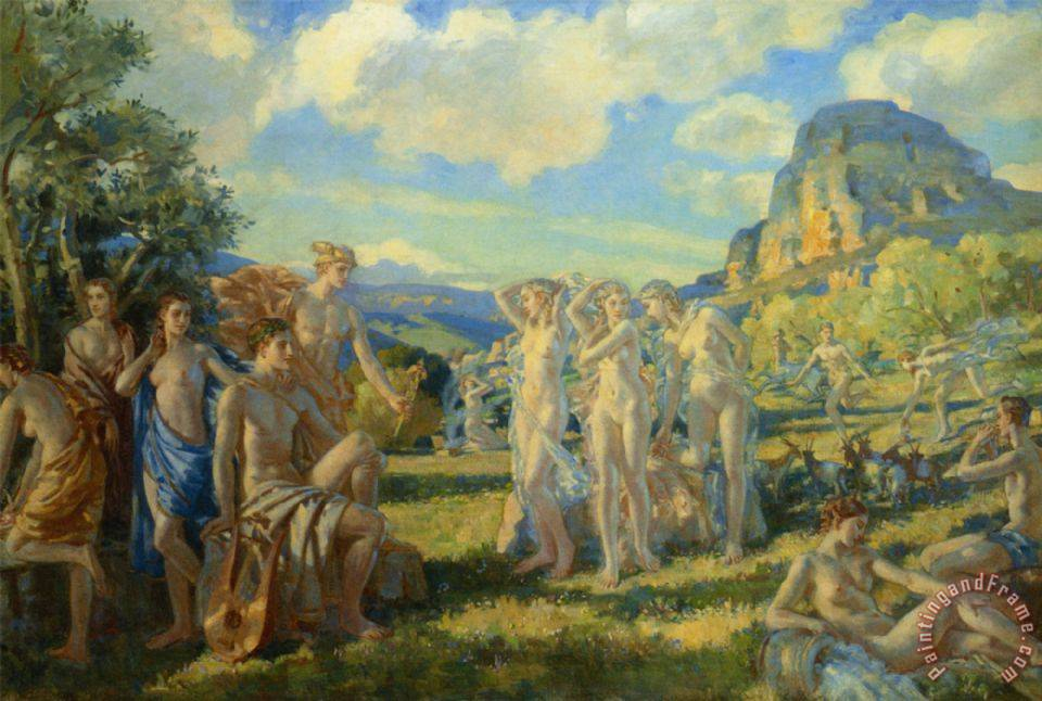 The Poet Accompanied by Some of The Muses Finds Inspiration in Nature painting - Wilfred Gabriel De Glehn The Poet Accompanied by Some of The Muses Finds Inspiration in Nature Art Print