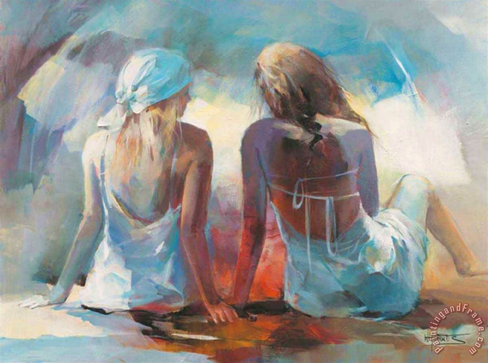 Two Girl Friends I painting - willem haenraets Two Girl Friends I Art Print