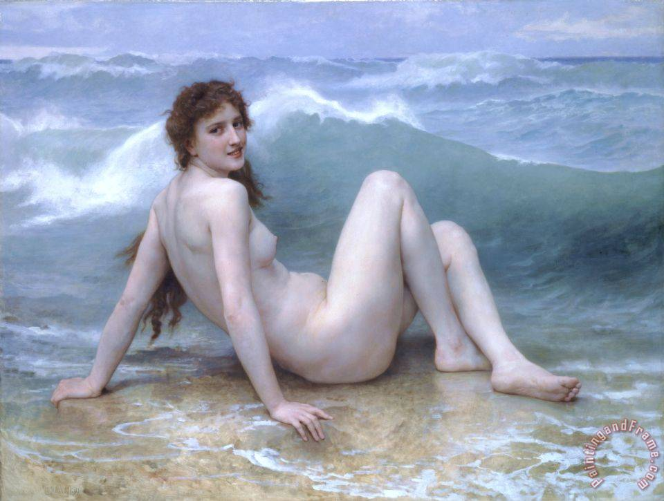 The Wave painting - William Adolphe Bouguereau The Wave Art Print