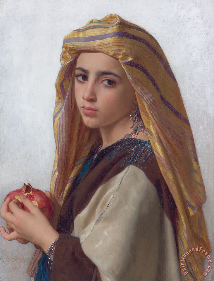 Girl with a Pomegranate painting - William Adolphe Bouguereau Girl with a Pomegranate Art Print