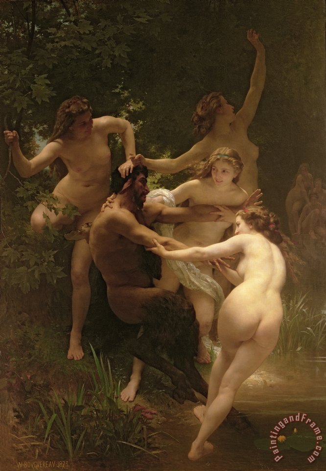 Nymphs and Satyr painting - William Adolphe Bouguereau Nymphs and Satyr Art Print