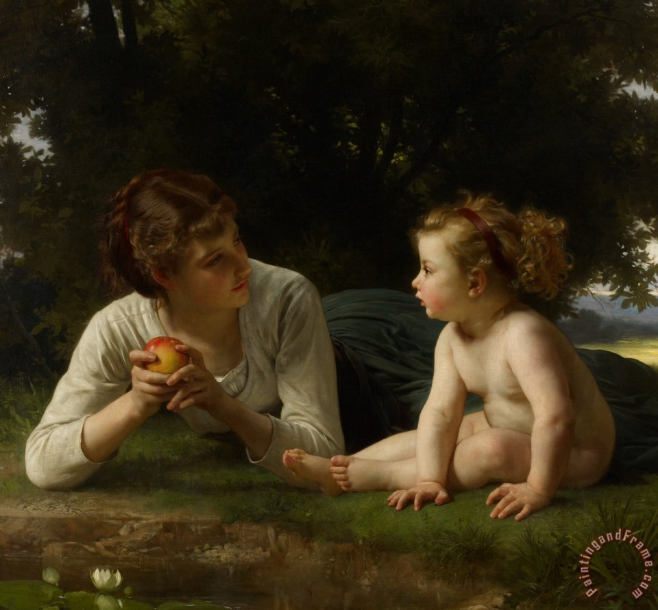 Temptation painting - William Adolphe Bouguereau Temptation Art Print