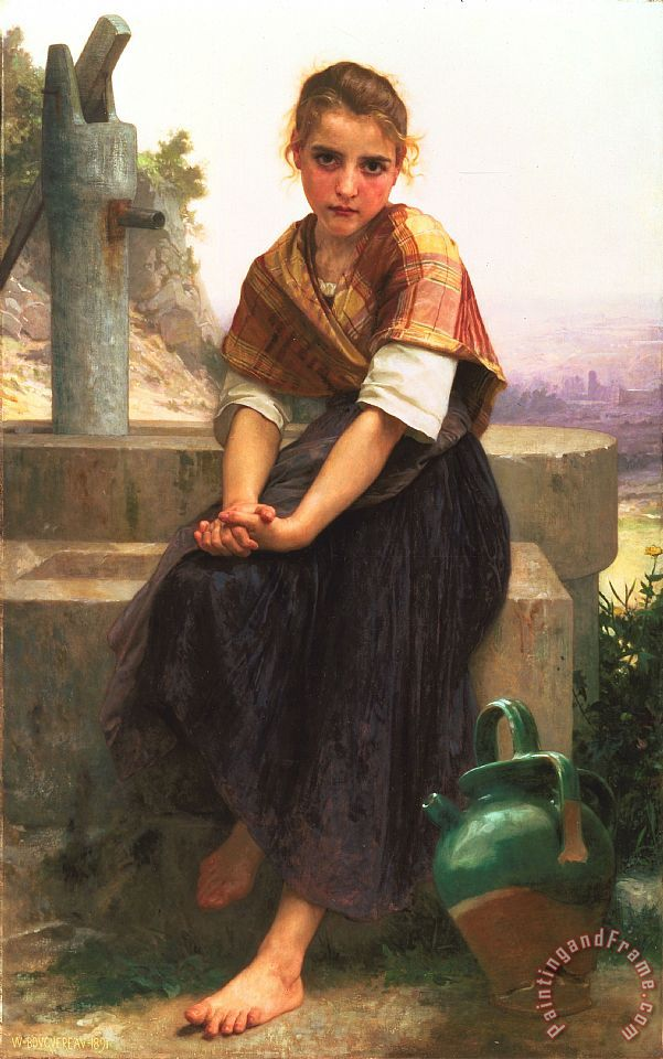 William Adolphe Bouguereau The Broken Pitcher Art Print