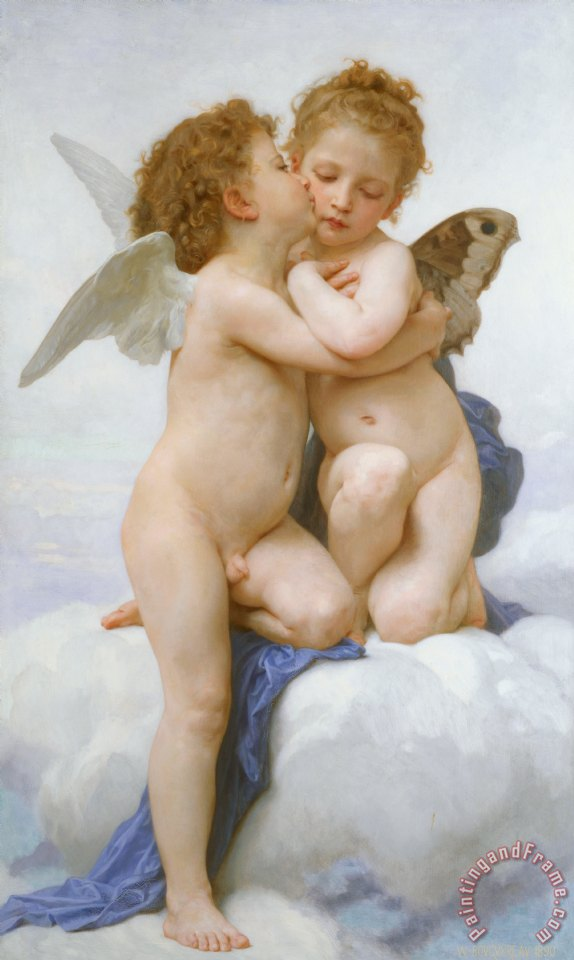 The First Kiss painting - William Adolphe Bouguereau The First Kiss Art Print