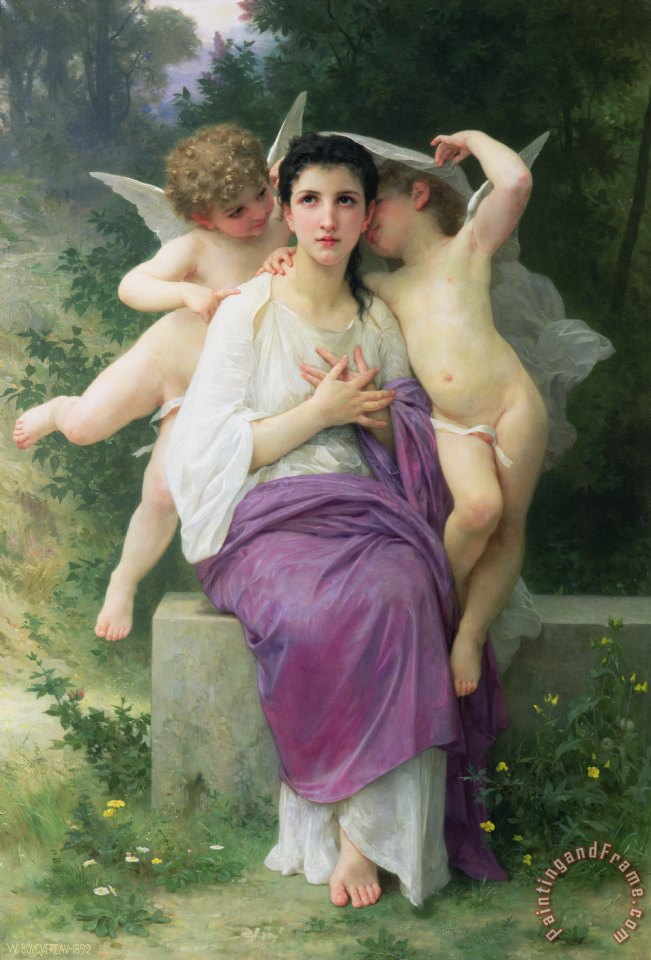 William Adolphe Bouguereau The Hearts Awakening Art Print