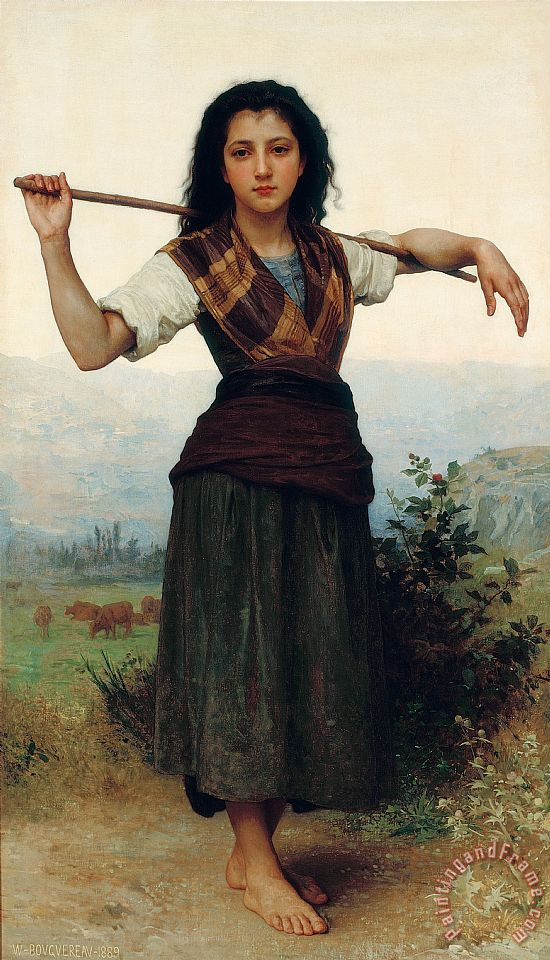 The Little Shepherdess painting - William Adolphe Bouguereau The Little Shepherdess Art Print