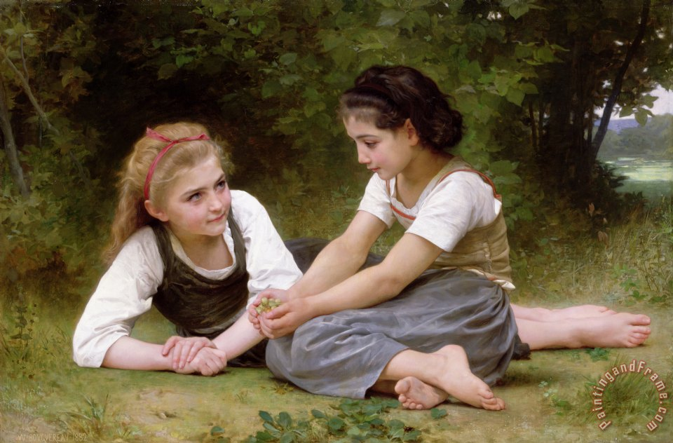 The Nut Gatherers painting - William Adolphe Bouguereau The Nut Gatherers Art Print